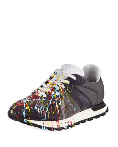 Men's Replica Paint-Splatter Suede-Trim Running Sneakers