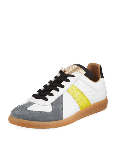 d8ffa8fc8c4 Replica Men's Contrast-Trim Leather & Suede Low-Top Sneakers