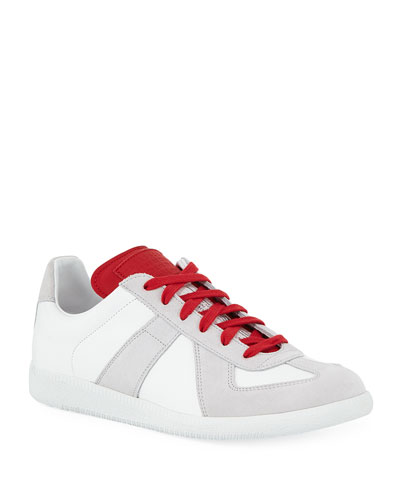 Men's Replica Leather & Suede Low-Top Sneakers with Contrast Trim