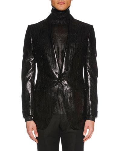 Men's Atticus Shawl-Collar One-Button Metallic Geo-Jacquard Blazer