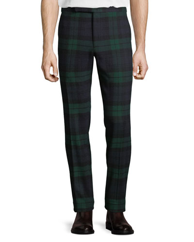 Men's Tartan Plaid Side-Strip Pants