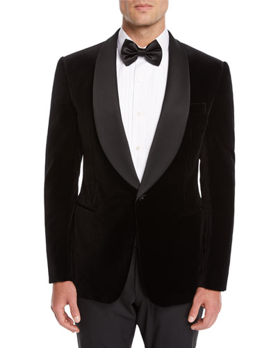 Men's Shawl-Collar Velvet Tuxedo Jacket