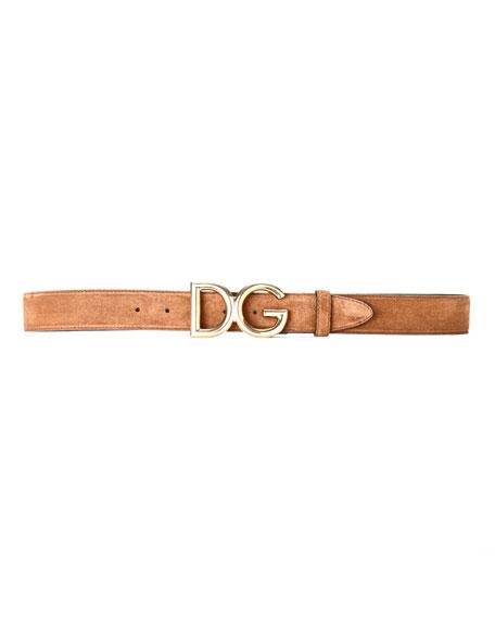 Dolce & Gabbana Men's Suede Belt w/ Logo