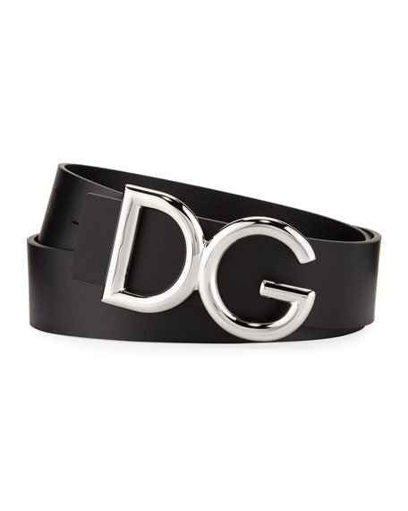 Dolce & Gabbana Men's Leather Belt with Logo-Plate