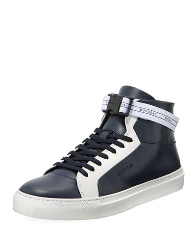 Men's 100mm Sport Two-Tone Leather High-Top Sneakers with Web Band
