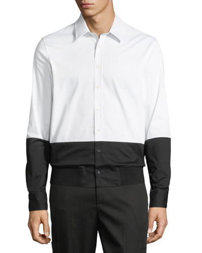 Men's Two-Tone Rib-Hem Button-Down Shirt