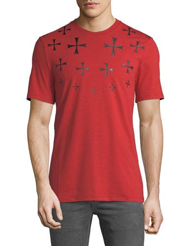 Men's Fair Isle Military Star Crewneck Short-Sleeve Cotton T-Shirt