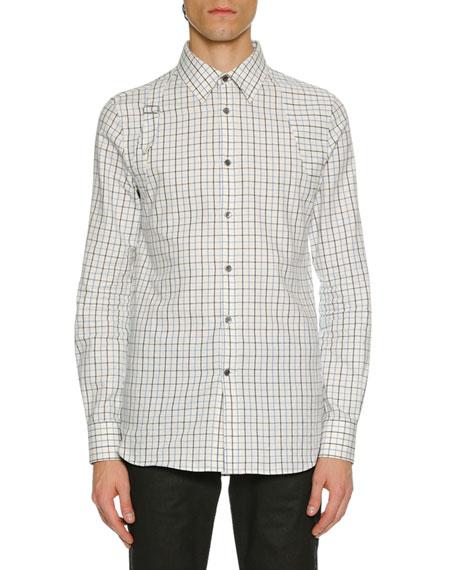 Alexander McQueen Men's Check Buckle-Detail Sport Shirt