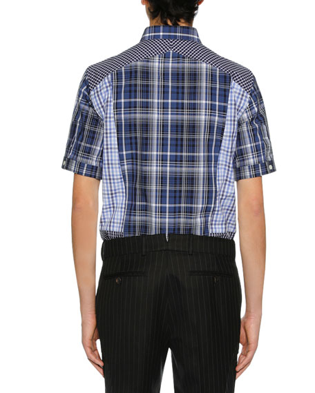 Men's Pieced Plaid Short-Sleeve Sport Shirt