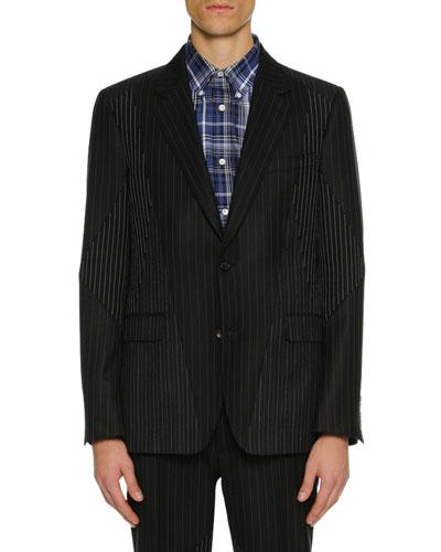 Men's Pinstriped Pieced Suit Jacket