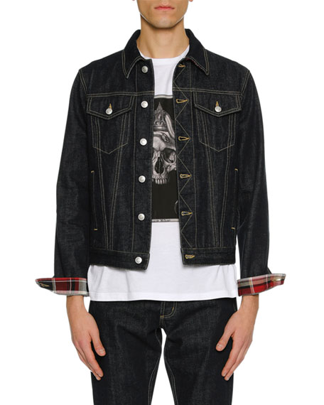 Alexander McQueen Men's Denim Jacket with Plaid Lining