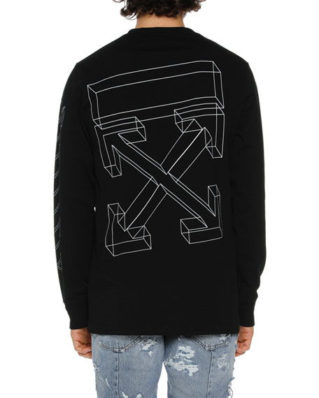 55e2c22b8 Off-White Men s Diagonal 3D Lines Long-Sleeve T-Shirt