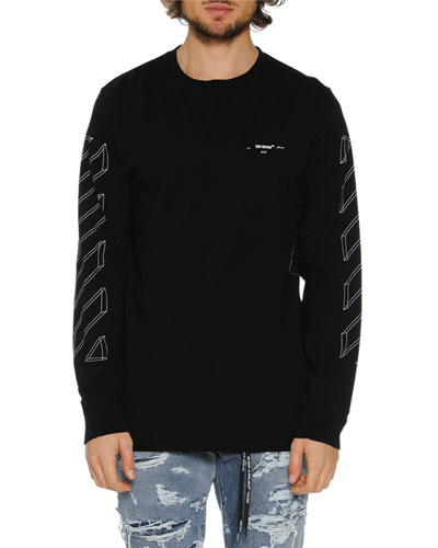 Men's Diagonal 3D Lines Long-Sleeve T-Shirt