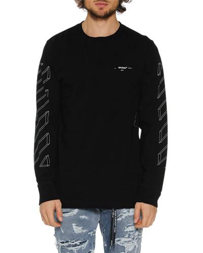 Men's Diagonal 3D Lines Long-Sleeve T-Shirt