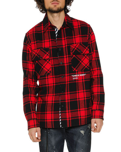 Men's Air Quote Typographic Check Shirt
