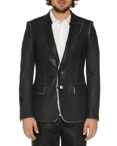 Men's Skinny Leather-Like Blazer