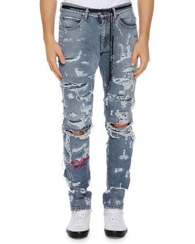 Men's Distressed Back-Dart Jeans