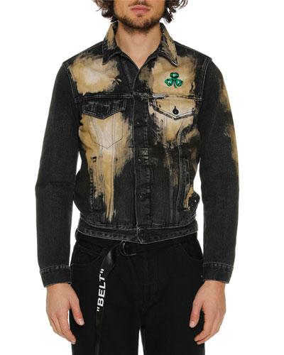 Men's Distressed Spots-Washed Slim Denim Jacket