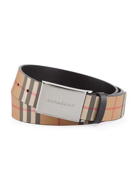 Men's Charles Check Leather Belt