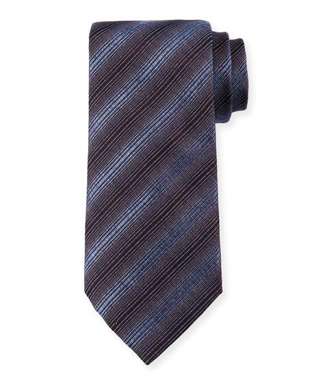 Giorgio Armani Diagonal Stripes Silk/Wool Tie, Steel Blue