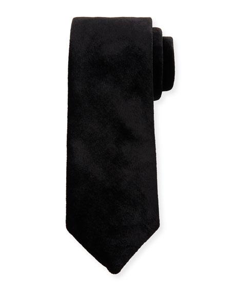 Giorgio Armani Solid Velvet Tie, Black