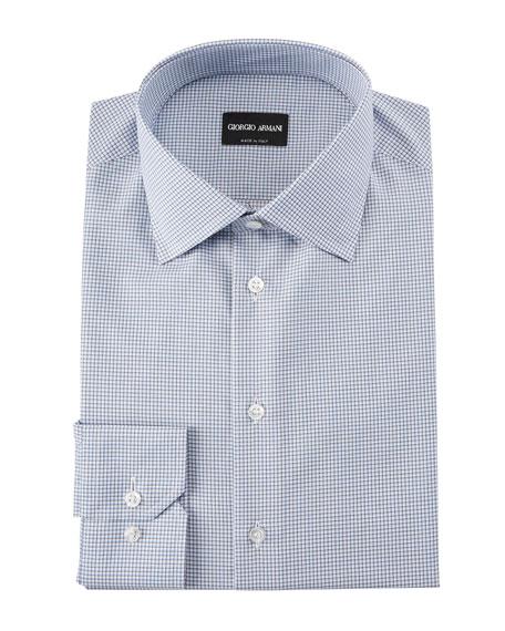 Men's Micro-Graph Cotton Dress Shirt, Blue