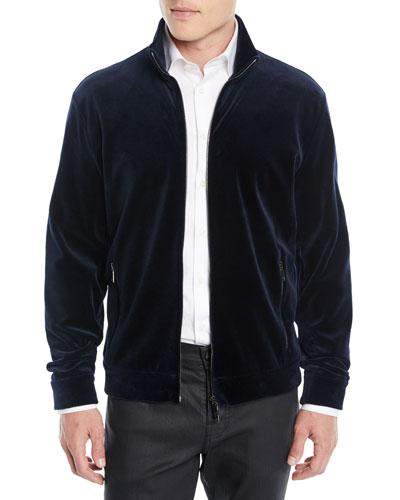 Men's Velvet Jersey Zip-Front Jacket