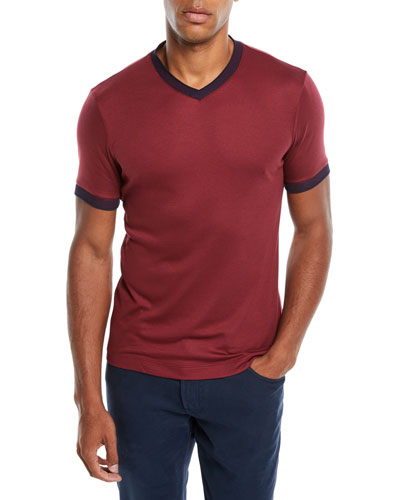 Men's Contrast-Trim V-Neck T-Shirt, Burgundy