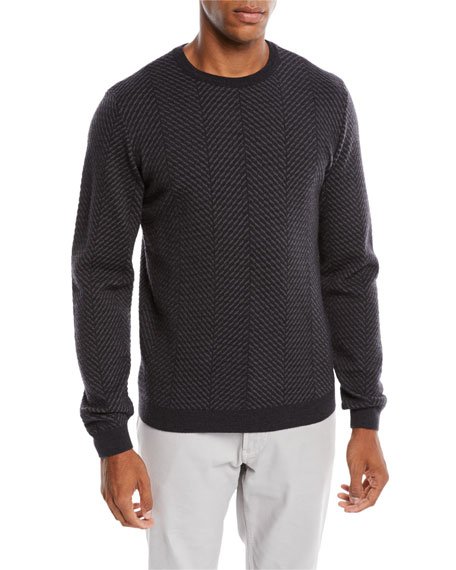 Giorgio Armani Men's Macro Herringbone Wool-Stretch Sweater
