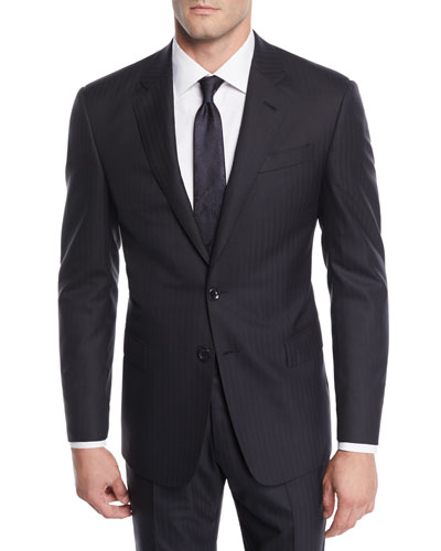 Men's Herringbone Two-Piece Wool Suit