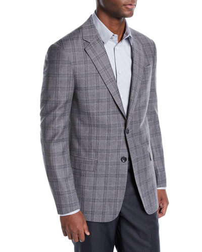 Men's Flannel Plaid Two-Button Jacket