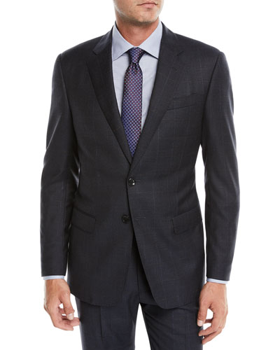 Men's Two-Piece Offset Windowpane Wool Suit