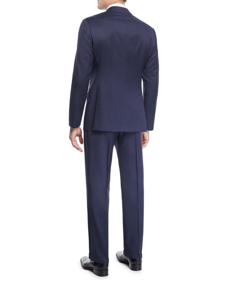 Men's Birdseye Windowpane Two-Piece Wool Suit
