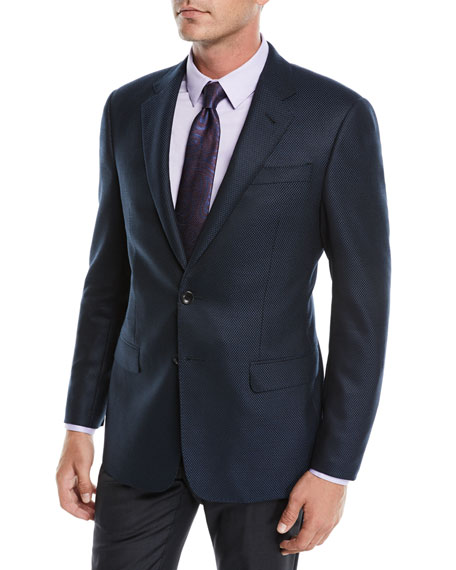 Giorgio Armani Men's Solid Melange Hopsack Two-Button Jacket