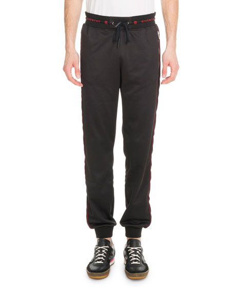 Givenchy Men's Velvet-Trim Logo-Waistband Jogger Pants