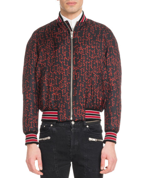 Men's Signature Print Silk Bomber Jacket