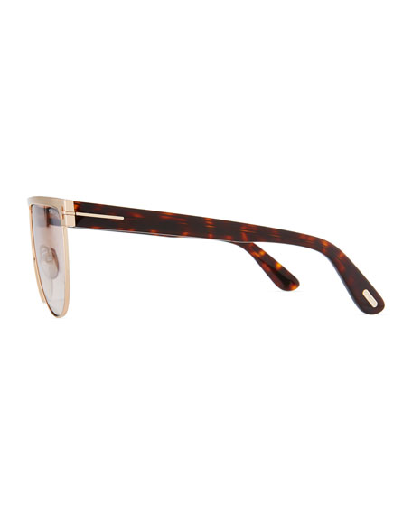 Men's Stephanie Flat-Top Metal Sunglasses, Rose Gold/Flash Silver