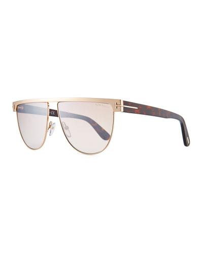 Men's Stephanie Flat-Top Metal Sunglasses, Rose Gold/Flash Silver