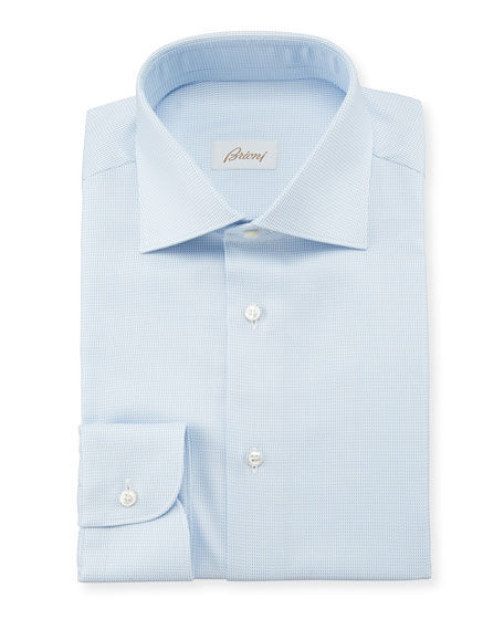 Brioni Men's Tic Check Dress Shirt
