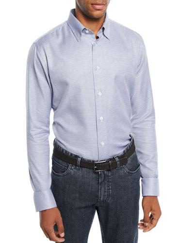Men's Mini Check Cotton Sport Shirt