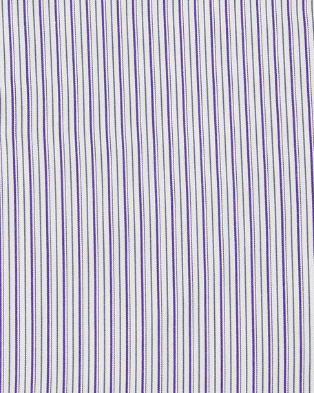 Men's Multi-Stripe Cotton Dress Shirt, Purple