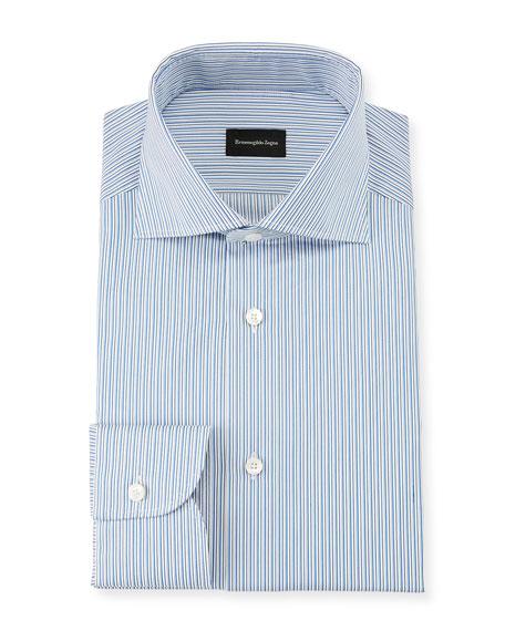 Ermenegildo Zegna Men's Multi-Stripe Cotton Dress Shirt, Royal