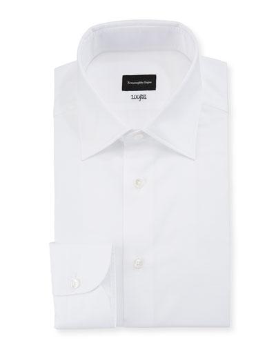 Men's 100Fili Cento Solid Poplin Dress Shirt, White