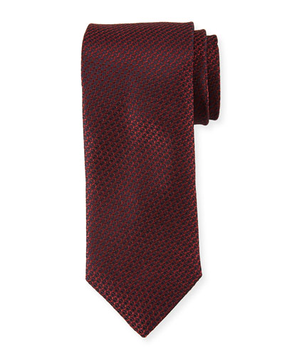 Textured Solid Silk Tie  Burgundy Red