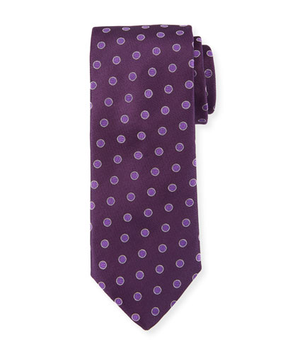 Textured Dot Silk Tie  Purple