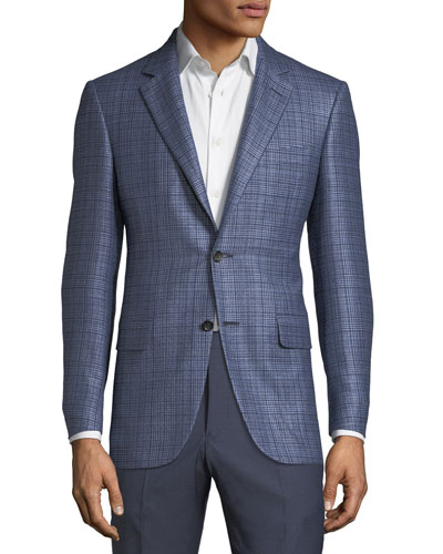 Men's Textured Plaid Cashmere-Blend Two-Button Jacket