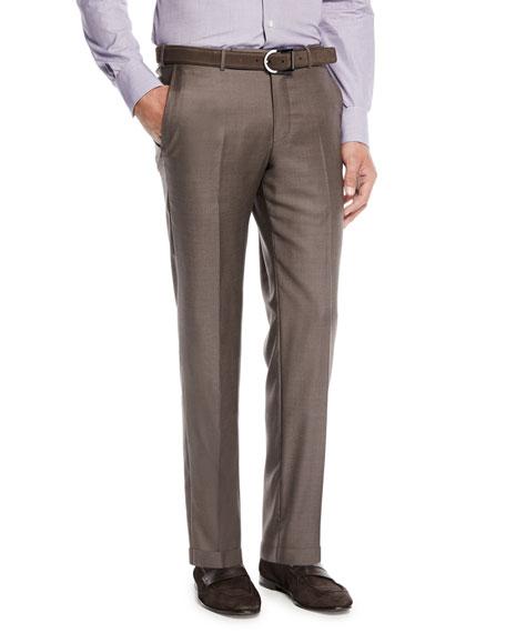Ermenegildo Zegna Trofeo Wool Flat-Front Trousers, Brown