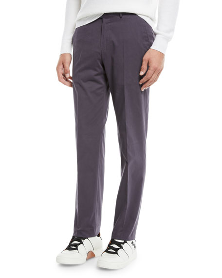 Ermenegildo Zegna Men's Twill Flat-Front Trousers, Purple