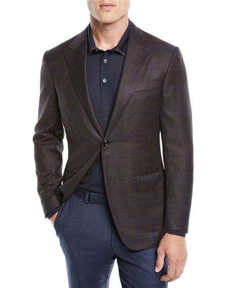 Ermenegildo Zegna Men's Plaid Wool Jacket, Blue/Brown