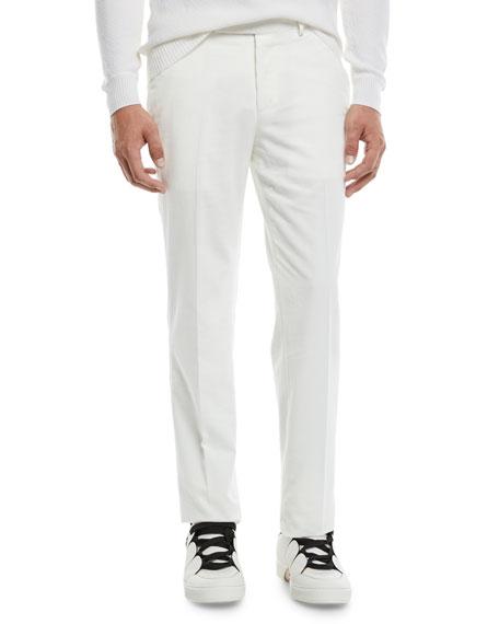 Ermenegildo Zegna Men's Flat-Front Cotton/Cashmere Corduroy